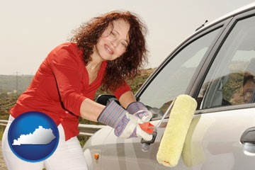 a woman painting a car with a paint roller - with Kentucky icon