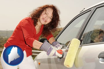 a woman painting a car with a paint roller - with Maine icon