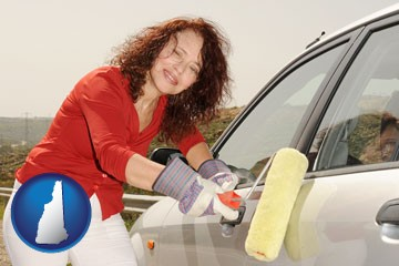 a woman painting a car with a paint roller - with New Hampshire icon