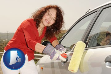 a woman painting a car with a paint roller - with Rhode Island icon