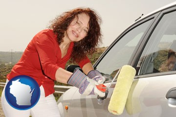 a woman painting a car with a paint roller - with Wisconsin icon